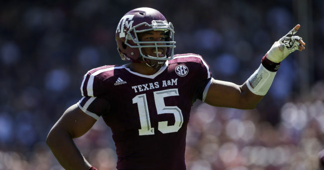 Sep 19, 2015; College Station, TX, USA; Texas A&M Aggies defensive lineman Myles Garrett (15) reacts after a play during the second quarter against the Nevada Wolf Pack at Kyle Field. Mandatory Credit: Troy Taormina-USA TODAY Sports