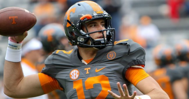 Oct 10, 2015; Knoxville, TN, USA; Tennessee Volunteers quarterback Quinten Dormady (12) before the game between the Georgia Bulldogs and Tennessee Volunteers at Neyland Stadium. Mandatory Credit: Randy Sartin-USA TODAY Sports