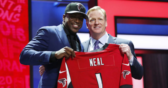 Apr 28, 2016; Chicago, IL, USA; Keanu Neal (Florida) with NFL commissioner Roger Goodell after being selected by the Atlanta Falcons as the number seventeen overall pick in the first round of the 2016 NFL Draft at Auditorium Theatre. Mandatory Credit: Kamil Krzaczynski-USA TODAY Sports