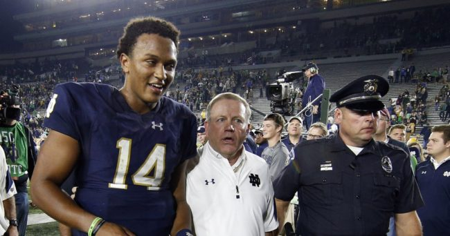 Notre Dame coach suggests DeShone Kizer not ready to start in NFL