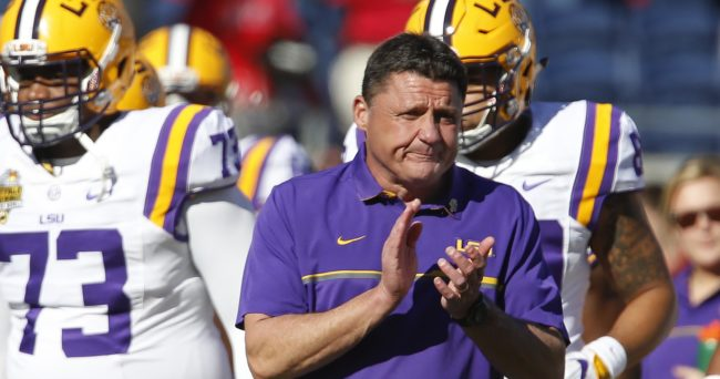 Dec 31, 2016; Orlando , FL, USA;  LSU Tigers head coach Ed Orgeron claps before an NCAA football game against the Louisville Cardinals in the Buffalo Wild Wings Citrus Bowl at Camping World Stadium. Mandatory Credit: Reinhold Matay-USA TODAY Sports