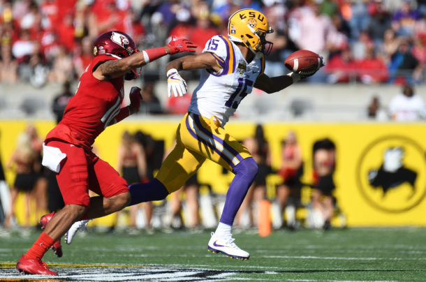 Dec 31, 2016; Orlando, FL, USA; LSU Tigers wide receiver Malachi Dupre (15) makes a one handed catch in the first half against the Louisville Cardinals at Camping World Stadium. Mandatory Credit: Jonathan Dyer-USA TODAY Sports