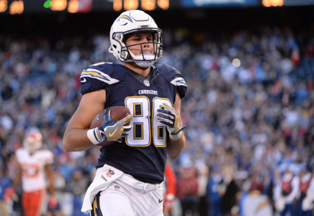 Jan 1, 2017; San Diego, CA, USA; San Diego Chargers tight end Hunter Henry (86) catches a touchdown pass during the second half of the game against the Kansas City Chiefs at Qualcomm Stadium. The Chiefs won 37-27. Mandatory Credit: Orlando Ramirez-USA TODAY Sports