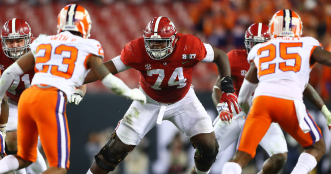 Jan 9, 2017; Tampa, FL, USA; Alabama Crimson Tide offensive lineman Cam Robinson (74) in the 2017 College Football Playoff National Championship Game against the Clemson Tigers at Raymond James Stadium. Mandatory Credit: Mark J. Rebilas-USA TODAY Sports