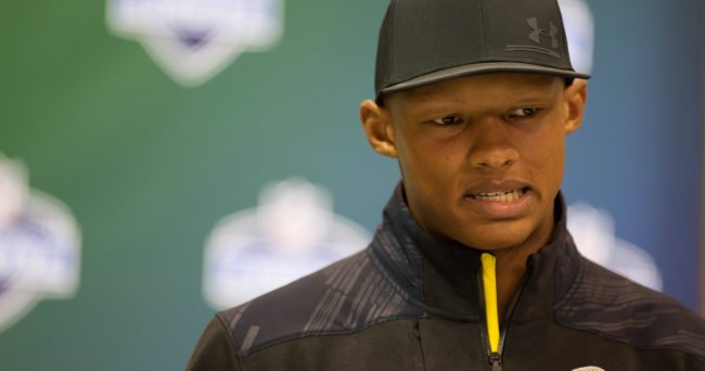 Mar 3, 2017; Indianapolis, IN, USA; Tennessee quarterback Joshua Dobbs speaks to the media during the 2017 combine at Indiana Convention Center. Mandatory Credit: Trevor Ruszkowski-USA TODAY Sports