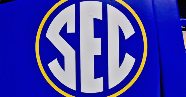 Mar 12, 2017; Nashville, TN, USA; SEC logo on the goal post inside Bridgestone Arena prior to the championship game of the SEC Conference Tournament between the Kentucky Wildcats and the Arkansas Razorbacks. Mandatory Credit: Jim Brown-USA TODAY Sports