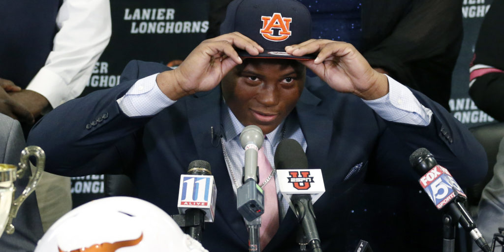 Feb 3, 2016; Buford, GA, USA; Lanier High School defensive tackle Derrick Brown commits to the Auburn Tigers at Auburn University during national signing day at Lanier High School. Mandatory Credit: Jason Getz-USA TODAY Sports
