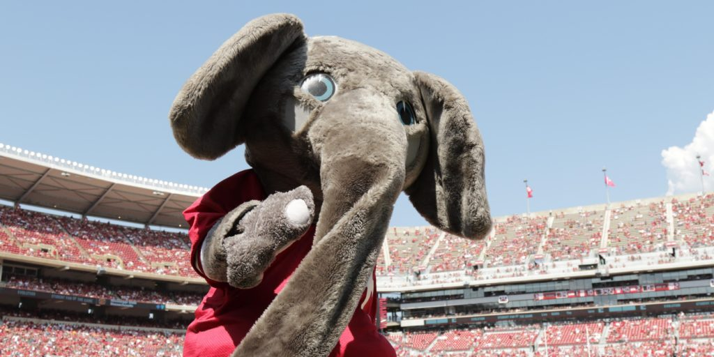 Sep 24, 2016; Tuscaloosa, AL, USA; Alabama Crimson Tide mascot Big Al during the game against the Kent State Golden Flashers at Bryant-Denny Stadium. Mandatory Credit: Marvin Gentry-USA TODAY Sports