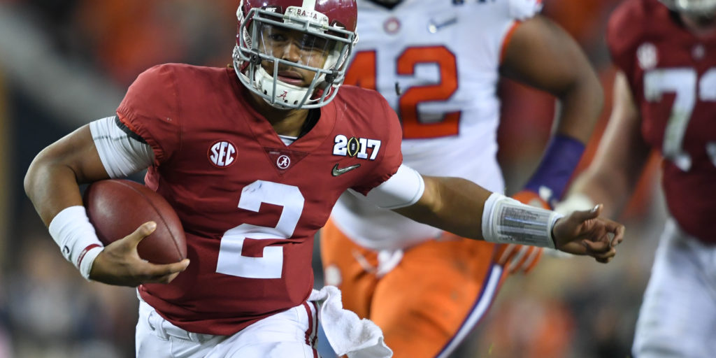 Jan 9, 2017; Tampa, FL, USA; Alabama Crimson Tide quarterback Jalen Hurts (2) runs the ball for a touchdown during the fourth quarter against the Clemson Tigers in the 2017 College Football Playoff National Championship Game at Raymond James Stadium. Mandatory Credit: John David Mercer-USA TODAY Sports