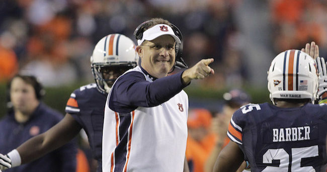 Nov 21, 2015; Auburn, AL, USA; Auburn Tigers head coach Gus Malzahn celebrates after his team scored a touchdown against the Idaho Vandals during the second quarter at Jordan Hare Stadium. Mandatory Credit: John Reed-USA TODAY Sports