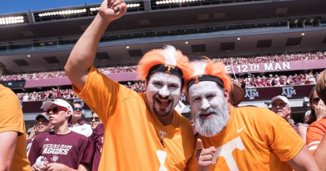 Oct 8, 2016; College Station, TX, USA; Tennessee Volunteers fans cheer for their team during the game against the Texas A&M Aggies at Kyle Field. The Aggies defeat the Volunteers 45-38 in overtime. Mandatory Credit: Jerome Miron-USA TODAY Sports