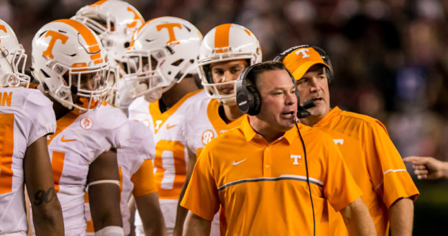 Oct 29, 2016; Columbia, SC, USA; Tennessee Volunteers head coach Butch Jones directs his team against the South Carolina Gamecocks in the second quarter at Williams-Brice Stadium. Mandatory Credit: Jeff Blake-USA TODAY Sports