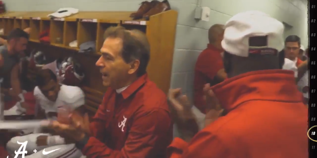 Watch Alabama Players Post Locker Room Celebration