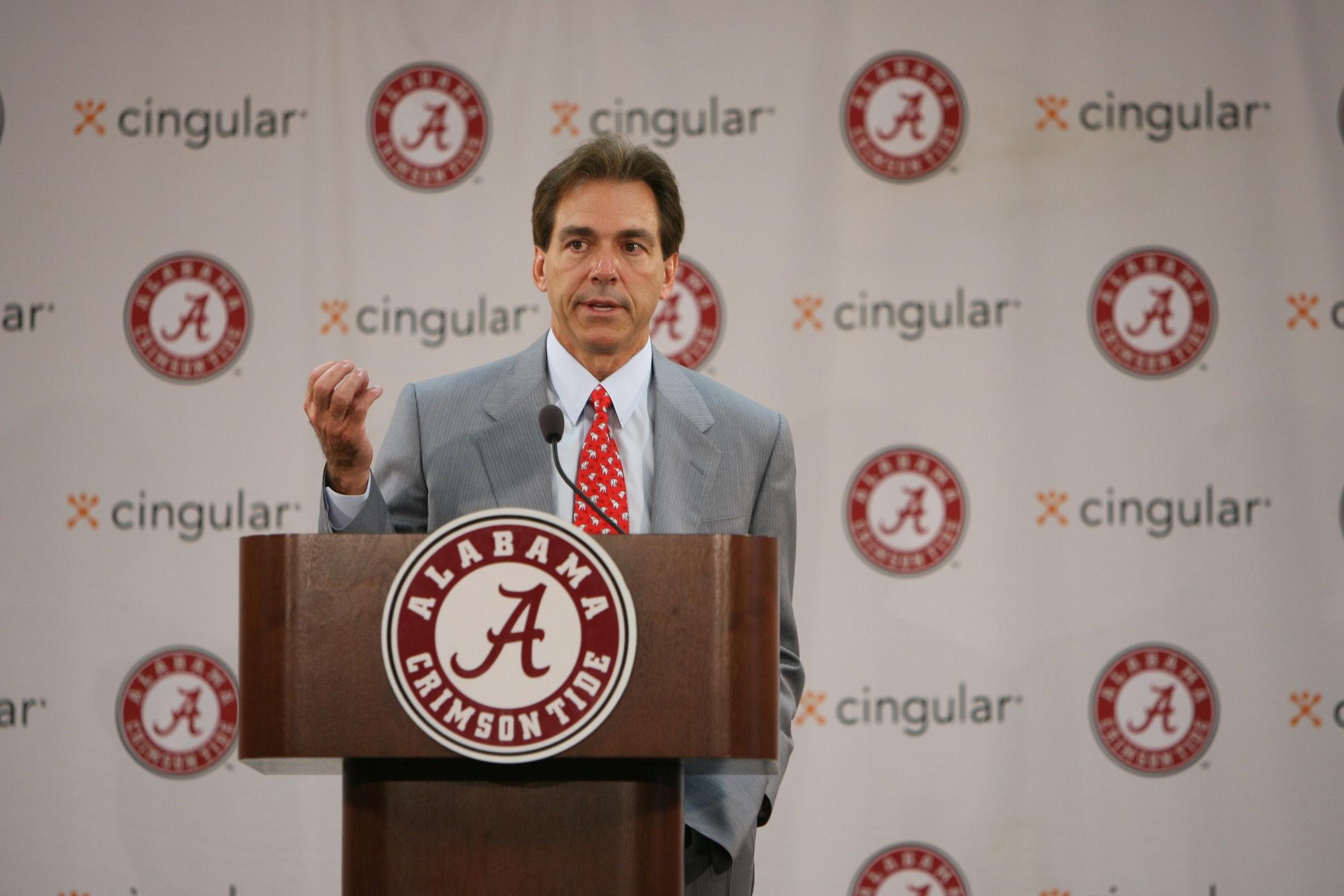 How was Nick Saban hired at Alabama