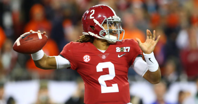 Jan 9, 2017; Tampa, FL, USA; Alabama Crimson Tide quarterback Jalen Hurts (2) throws a pass during the third quarter against the Clemson Tigers in the 2017 College Football Playoff National Championship Game at Raymond James Stadium. Mandatory Credit: Mark J. Rebilas-USA TODAY Sports